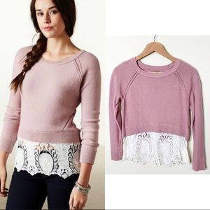 American Eagle Mauve Pink Lace Pullover Sweater